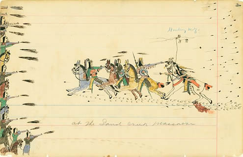 Howling Wolf (1849 - 1927) was a member of Black Kettle's tribe and presentat the Sand Creek Massacre. The Allen Memorial Art Museum at Oberlin College hasa collection of his drawings, done on pages ripped from account ledger books.